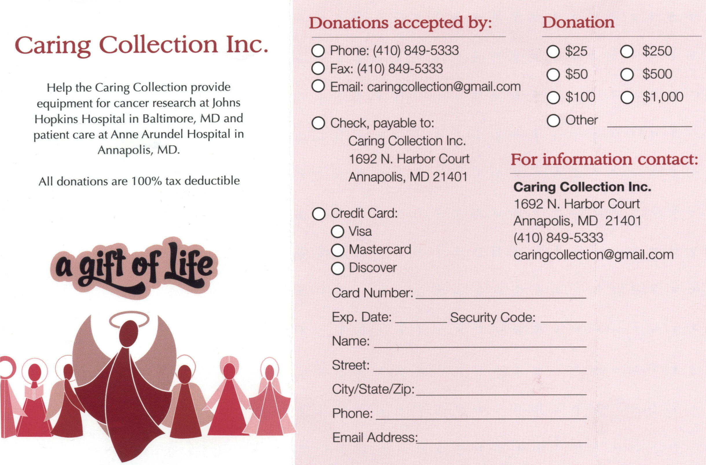 charity donation form template
